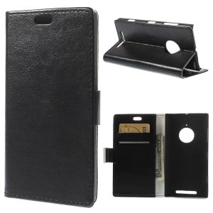 Crazy Horse Magnetic Leather Wallet Case for Nokia Lumia 830 w/ Stand - Black