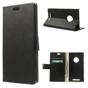 Folio Wallet Leather Magnetic Case for Nokia Lumia 830 w/ Stand - Black