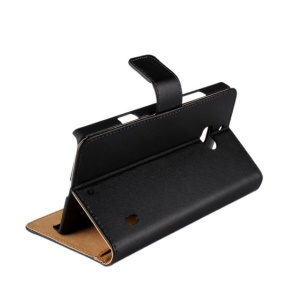 Genuine Split Leather Card Holder Case for Nokia Lumia 930 / Lumia Icon 929 w/ Stand - Black