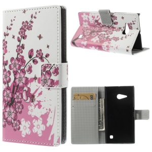 Plum Blossom Wallet Leather Case w / Stand para Nokia Lumia 730 Dual SIM / Lumia 735