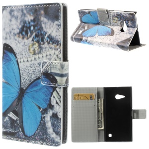 Pretty Blue Butterfly Folio Leather Wallet Case w/ Stand for Nokia Lumia 730 Dual SIM / Lumia 735