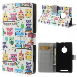 Multiple Owls Leather Stand Case Accessory for Nokia Lumia 830
