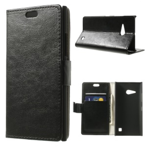 Black Crazy Horse PU Leather Wallet Case with Stand for Nokia Lumia 730 Dual SIM / Lumia 735