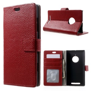 Genuine Full Grain Litchi Skin Wallet Leather Stand Case for Nokia Lumia 830 - Red