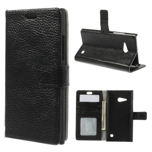 Genuine Full Grain Lychee Skin Leather Card Holder Case for Nokia Lumia 735 / 730 Dual SIM - Black
