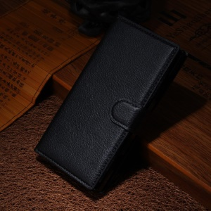 Lychee Grain Leather Wallet 3 Card Slots Case for Nokia Lumia 830 - Black