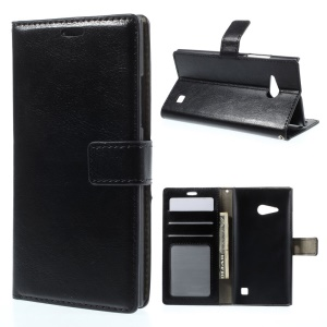 Crazy Horse Leather Wallet Case w/ Stand for Nokia Lumia 730 Dual SIM / Lumia 735 - Black