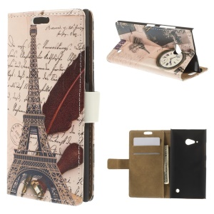 Eiffel Tower & Quill Pen Leather Magnetic Case w/ Stand for Nokia Lumia 730 Dual SIM / Lumia 735