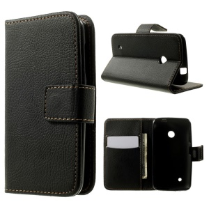 Litchi Texture TPU Inner Leather Stand Case Wallet for Nokia Lumia 530 RM-1017 RM-1019 - Black