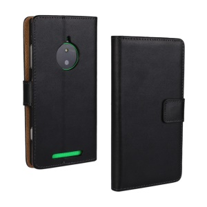 Genuine Split Leather Wallet Stand Case for Nokia Lumia 830 - Black