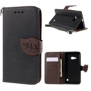 Leaf Magnetic Leather Wallet Case for Nokia Lumia 735 / 730 Dual SIM - Black