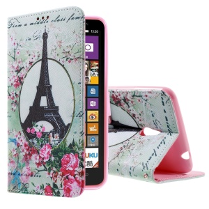 Callfree Eiffel Tower and Flowers Magnetic Leather Stand Case for Nokia Lumia 1320