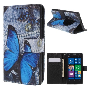 Color Painting Leather Protective Case for Nokia Lumia 1020 - Blue Butterfly & Jeans