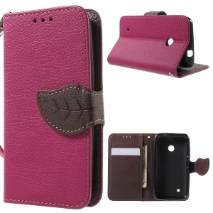 Leaf Flip Stand Wallet Leather Cover for Nokia Lumia 530 - Rose