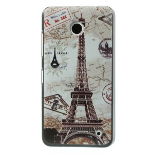 Embossed Pattern for Nokia Lumia 630 Back Plastic Shell - Eiffel Tower & Map