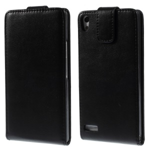 Black Vertical Flip Leather Magnetic Case for Huawei Ascend P6