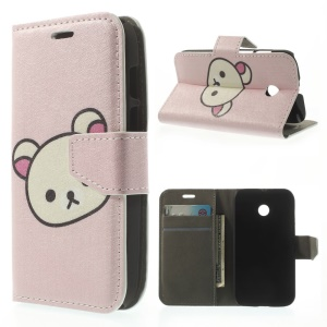 Cute Rilakkuma Silk Texture Leather Stand Case w/ Wallet for Huawei Ascend Y330