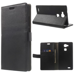 For Huawei Ascend Mate7 Lychee PU Leather Wallet Case with Stand - Black