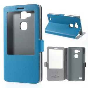 Doormoon Window View Genuine Leather Stand Cover for Huawei Ascend Mate7 - Blue