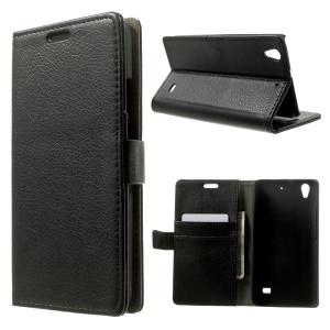 Litchi Skin Magnetic Leather Wallet Case Stand for Huawei Ascend G620S / Honor 4 Play - Black