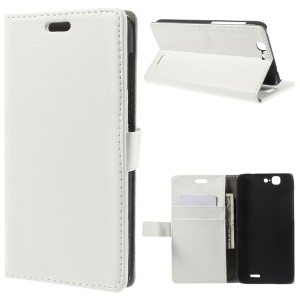 Litchi Skin Wallet Leather Stand Cover for Huawei Ascend G7 - White