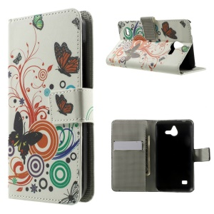 Butterfly Circles Leather Magnetic Cover w/ Stand for Huawei Ascend Y550