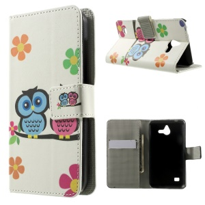 Two Owls & Flowers Leather Magnetic Case w/ Card Slots for Huawei Ascend Y550