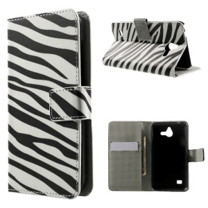 Zebra Stripes Leather Wallet Case w/ Stand for Huawei Ascend Y550