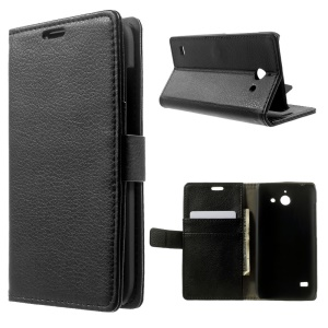 For Huawei Ascend Y550 Litchi Skin Wallet Leather Stand Case - Black