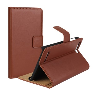 Split Genuine Card Holder Stand Leather Cover Case for Huawei Ascend G6 4G - Brown