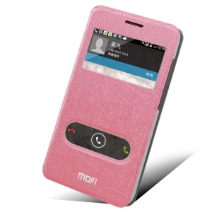 MOFI Hui Series for Huawei Ascend G620 Dual Window Leather Case with Stand - Pink