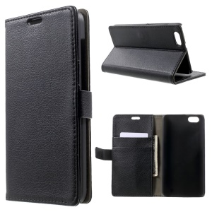 Litchi skin for Huawei Honor Play 4X Wallet Leather Stand Case - Black