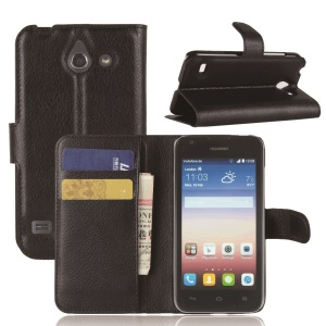Litchi Grain for Huawei Ascend Y550 Leather Wallet  Stand Cover Case - Black