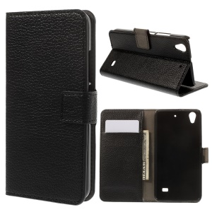 Lychee Texture Leather Wallet Case for Huawei Ascend G620S - Black