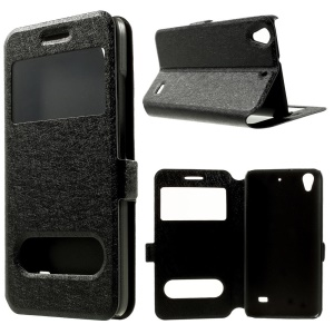 Silk Texture for Huawei Ascend G620S Dual View Windows Leather Stand Case - Black