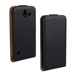 Vertical Flip Genuine Split Leather Cover for Huawei Ascend Y550 - Black