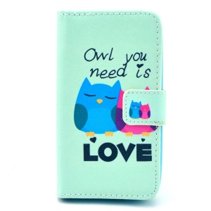 Folio Stand Wallet Leather Shell for Huawei Ascend Y330 - Love Owl Couple