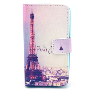 Durable Wallet Leather Cover Case for Huawei Ascend Y330 - Paris Eiffel Tower