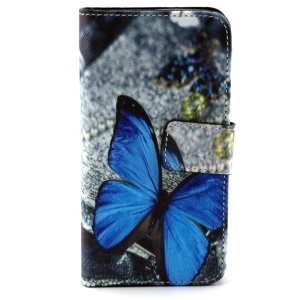 Blue Butterfly Leather Wallet Folio Case for Huawei Ascend Y330