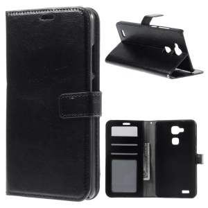 Crazy Horse Leather Wallet Bracket Case for Huawei Ascend Mate7 - Black