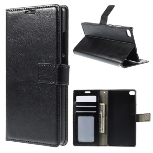 Crazy Horse Leather Wallet Cover for Huawei Ascend P8 with Stand - Black