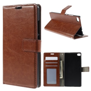Crazy Horse Skin Flip Leather Stand Case for Huawei Ascend P8 - Brown
