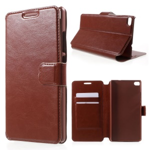 Crazy Horse Leather Stand Case Card Holder for Huawei Ascend P8 - Brown