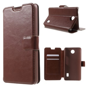 Crazy Horse Leather Card Holder Case for Huawei Y635 - Brown