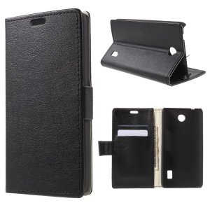 Leatherette Case Cover with Wallet Slots for Huawei Y635 - Black
