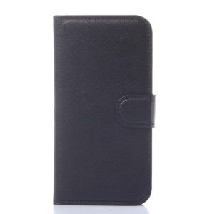 Litchi Grain Leather Wallet Case for Huawei Ascend Y540 with Stand - Black