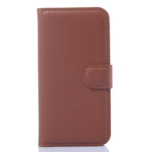 Litchi Grain Leather Wallet Cover for Huawei Ascend Y540 with Stand - Brown