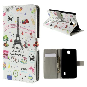 Palettes Sweet Street Flip Leather Wallet Protective Case for Huawei Y635