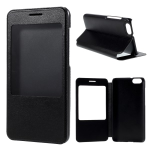 View Window Leather Stand Case for Huawei Honor Play 4X - Black