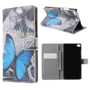 Blue Butterfly Flip Leather Wallet Stand Case for Huawei Ascend P8